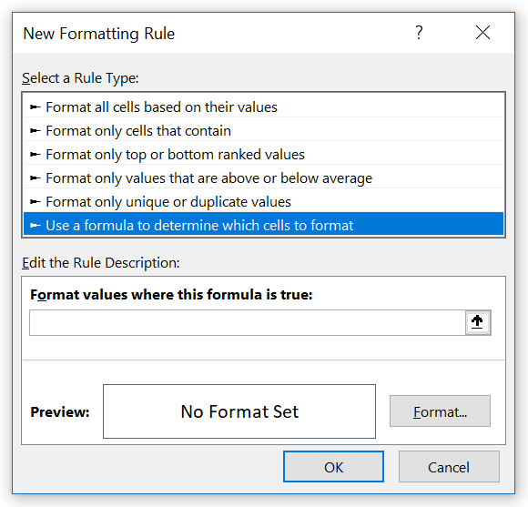 Image 2. Set the formula and Format Cells in the Conditional Formatting