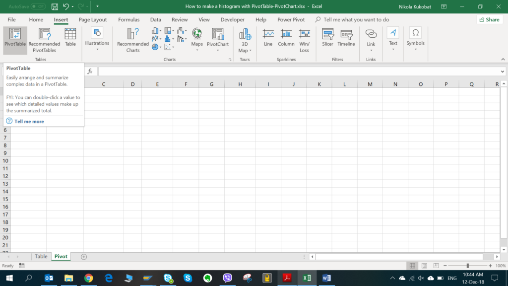 Inserting the pivot table