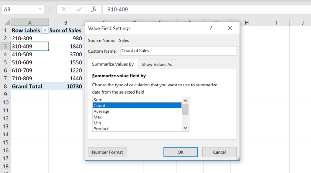 Image 9. Value field settings – count