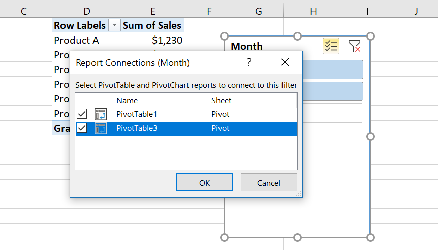Image 10. Connecting the slicer with the second pivot table