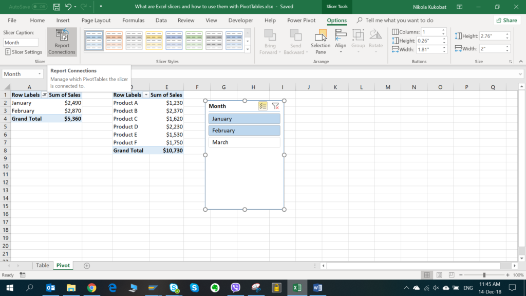 Image 9. Connecting the slicer with the second pivot table