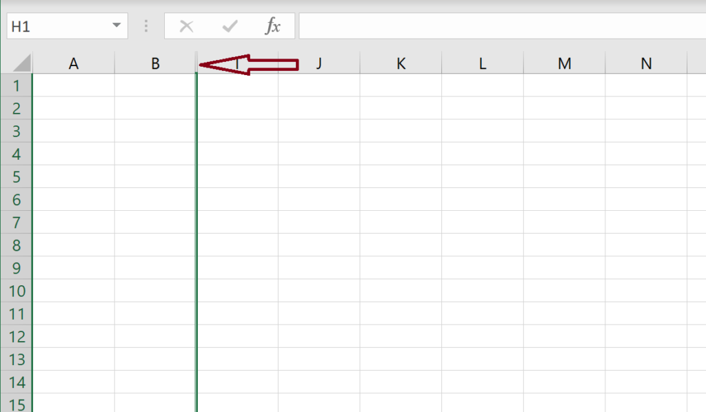 Example of How to Unhide One Column