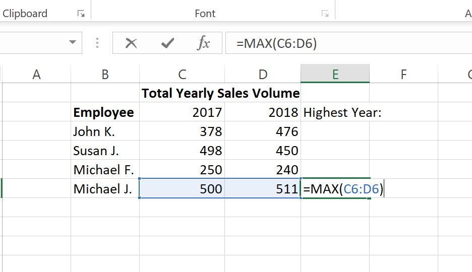 MAX function Example