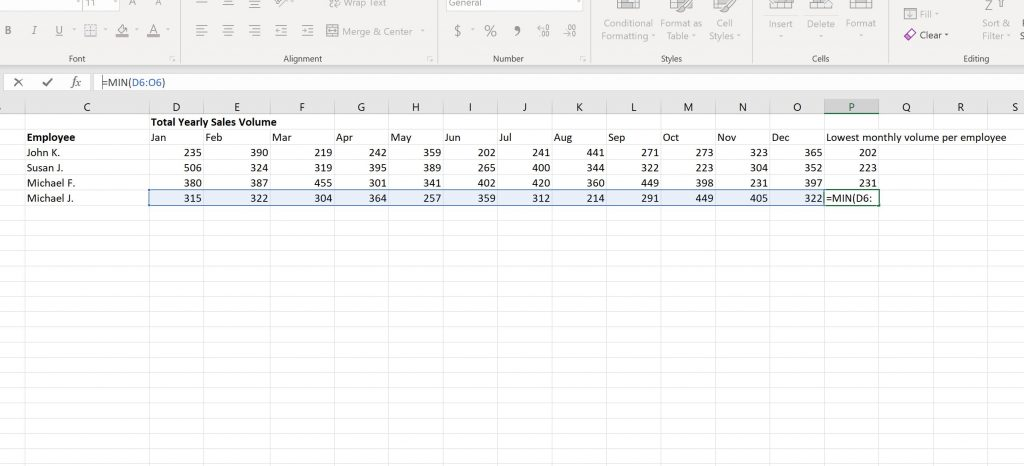 Finding the Lowest Monthly Volume in Excel